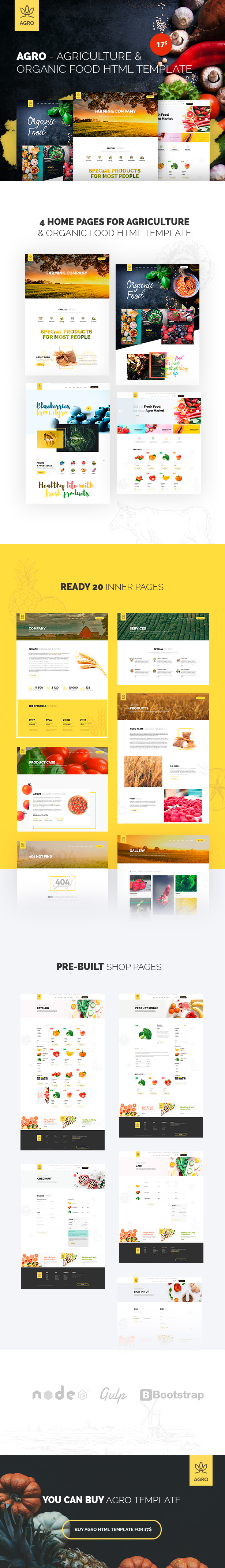 Agro - Agriculture & Organic Food HTML Template Pack - 2