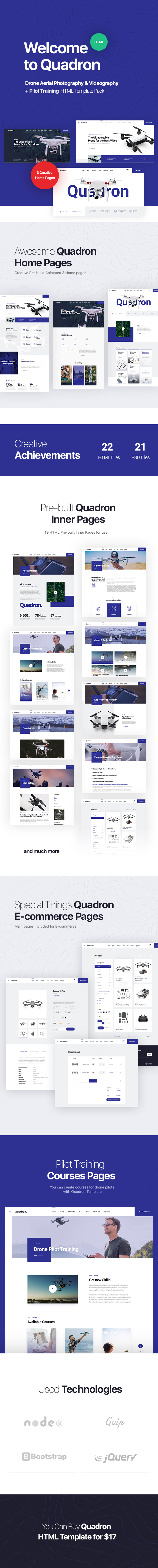 Quadron | Drone Aerial Photography & Videography + Pilot Training HTML Template Pack - 5