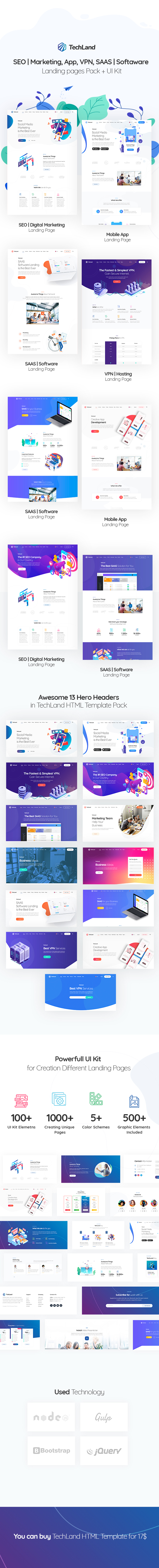 TechLand - SEO|Marketing, SAAS|Software, App, VPN Landing pages + UI Kit - 5